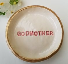 Brides Made Godmother Personalized Gift Ceramic Trinket Dish High Gloss Finish Jewelry Storage Pink Home Decor Wedding Dish How To Clean Gold, Clean Gold Jewelry, Pink Home Decor, Jewelry Storage, Bride Gifts, High Gloss, Personalized Gifts, Brides, Wing Earrings
