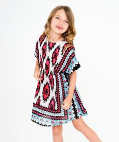 Look at this Red & Blue Geometric Dress - Toddler & Girls on #zulily today!