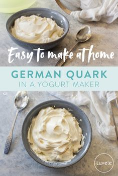 German Quark is easy to make at home Home Made Cream Cheese, Make Cream Cheese, How To Make Cheese, Quark Recipes, Yogurt Recipes, Baking Recipes, Healthy Recipes, Homemade Yogurt, Homemade Cheese