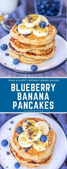 Fluffy and satisfying, Blueberry Banana Pancakes are a perfect family treat. They are loaded with heart-healthy oats and made WITHOUT ADDED SUGARS. --- #breakfast #breakfastrecipes #easybreakfast #healthyrecipes #healthybreakfast #pancakes #pancakerecipe #blueberrypancake #bananapancake #americanpancakes #oatpancakes
