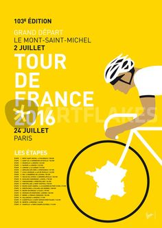 """MY TOUR DE FRANCE MINIMAL POSTER 2016"" Graphic/Illustration art prints and posters by chungkong - ARTFLAKES.COM"