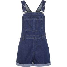 TOPSHOP MOTO Indigo Short Dungarees (100 SGD) ❤ liked on Polyvore featuring jumpsuits, rompers, jumpsuit, overalls, shorts, playsuits, indigo, overall, short overalls and blue romper