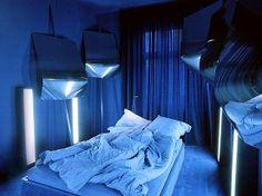 Interior, Fantastic Odd Themed Room by Lars Stroschen: Luminous Romantic Blue Master Bedroom Blue Master Bedroom, Silver Bedroom, Indigo Bedroom, Indigo Walls, Bedroom Simple, Simple Bed, Tiffany Blue, Big Window Curtains, Plascon Colours