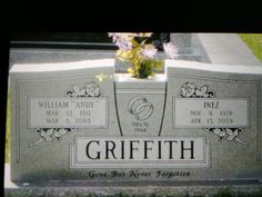 Andy Samuel Griffith(June 1, 1926 – July 3, 2012) He became better known for playing the lead roles ofAndy Taylorin thesitcomThe Andy Griffith Show(1960–1968) andBen Matlockin thelegal dramaMatlock(1986–1995).Griffith died on July 3, 2012, from a heart attack at the age of 86 at his coastal home inManteo,Roanoke Island, inDare County, North Carolina. He was buried in the Griffith family cemetery on the island within five hours of his death. Grave Monuments, Grave Headstones, Old Cemeteries, Graveyards, Good Quotes To Live By, Roanoke Island, The Andy Griffith Show, Famous Graves, Cemetery Art