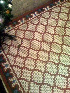 Pennyround tiles in fishnet pattern