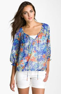 Pleione Sheer Print Peasant Blouse available at #Nordstrom
