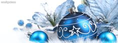 Blue Ornaments Holiday Facebook Cover