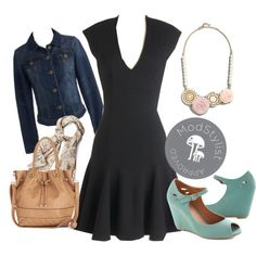 """A Dash of Flair Dress"" by modcloth on Polyvore - A #ModCloth #ModStylist put this together for me a few weeks ago! I love it! I bought the shoes, but I would pass on the scarf. ModCloth has others that are much better quality!"