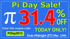 Pi Day Coupon! Save 31.4% off almost everything in the Scrap Girls Boutique until Midnight ET on March 14, 2013.