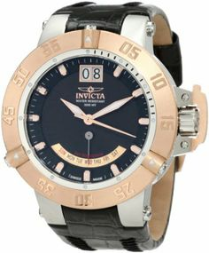 Invicta Men's 1575 Subaqua Noma III Black Dial Black Leather Watch Invicta. Save 89 Off!. $196.41. Black dial with rose gold tone hands and hour markers; luminous; 18k rose gold ion-plated stainless steel unidirectional bezel; screw-down stainless steel crown with 18k rose gold ion-plated protective clasp. Water-resistant to 1640 feet (500 M). Retro day and date function. Flame-fusion crystal; brushed and polished stainless steel case; black leather strap. Swiss quartz movement