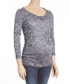 Look at this #zulilyfind! Mom & Co. Navy & White Ruched Maternity Top by Mom & Co. #zulilyfinds