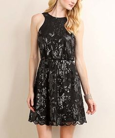 Look what I found on #zulily! Soiéblu Black Sequin Floral Fit & Flare Dress by Soiéblu #zulilyfinds