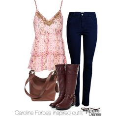 Caroline Forbes inspired outfit/The Vampire Diaries by tvdsarahmichele on Polyvore featuring Jane Norman, ONLY, Coach, CandiceAccola, tvd, carolineforbes and thevampirediaries