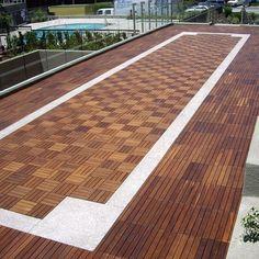 DIY Teak Tile Flooring: Get creative and create a cool pattern using straight or spiral teak tiles! #thinkteak http://www.teakwoodcentral.com/le-click-teak-flooring  From Houzz.com