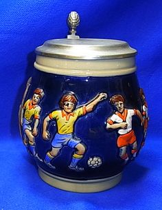 Vintage German Tin Top Lidded Beer Stein Soccer Goal
