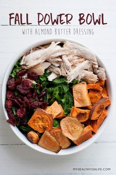 A seasonal nutrient-packed bowl perfect for welcoming fall. Paleo and gluten-free, the almond butter dressing will convert and kale-hater.