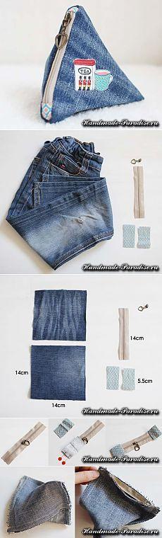 Как сшить треугольный кошелек из джинсов   Своими руками