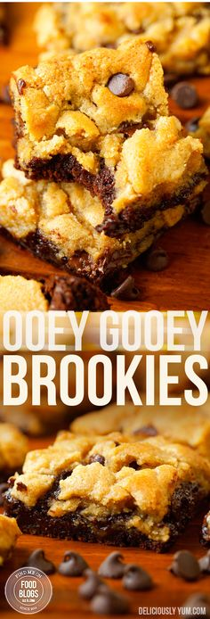 Ooey Gooey Brookies Recipe @FoodBlogs.com