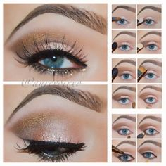 Eye tutorial using the @urbandecaycosmetics Naked palette. *Primed eyes with Urban Decay Primer Potion 1. Apply Sin in the inner corner of your lid sweeping it to the middle 2. Take the color Toasted and apply it to the rest of the lid  3. Now take Buck with a Mac 224 brush and apply it in the crease 4. Using a 217 brush from Mac, take Dark Horse and apply it in the outer corner making a V shape 5. To soften the edges of Dark Horse, use Smog with the 224 brush 6. Mac - Vanilla as highlight…