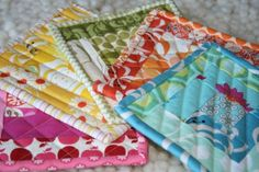 quilted potholders using scraps of batting and fabric