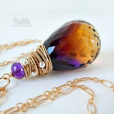 Ametrine Gold Necklace Purple Yellow Wire Wrapped by Kande on Etsy