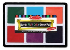"""Melissa & Doug Jumbo Multi-Colored Stamp Pad With 6 Washable Inks  Oversize ink pad for bigger stamps  6 fabulous colors  Washable from most surfaces  12"""" x 8.5"""" x 0.5""""  Ages 3+"""