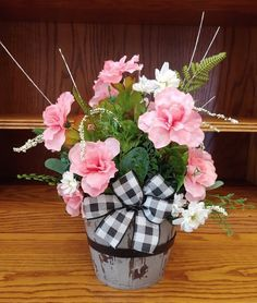 Items similar to Spring Centerpiece Mother's Day Pink and White Farmhouse Floral Arrangement in Distressed Wooden Pot Easter Arrangement Pink Summer Floral on Etsy Wooden Centerpieces, Winter Centerpieces, Thanksgiving Centerpieces, Floral Centerpieces, Hydrangea Arrangements, Fall Floral Arrangements, White Farmhouse, Farmhouse Decor, Spring Flowers