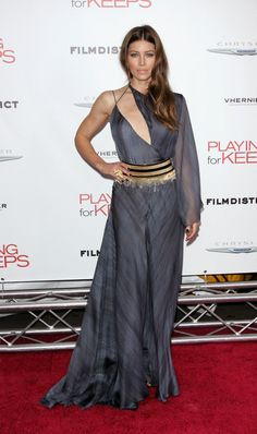 Va-Va-Voom! See the Sexiest Dresses to Hit the Red Carpet in 2012 : Jessica Biel looked nothing short of sultry in an asymmetrical Versace creation at the NYC premiere of Playing For Keeps.