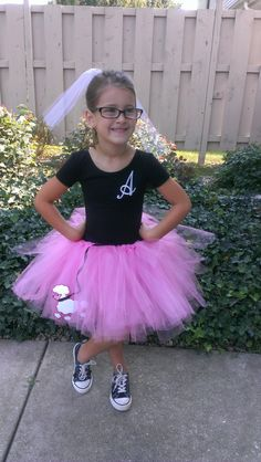 Poodle Skirt Tutu- love the idea of putting their initials on their shirts!