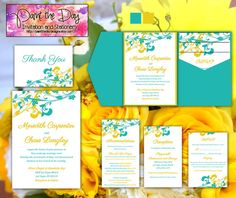 Whimsical Vines Wedding Pocketfold | Microsoft Word Template | Turquoise Yellow | Invitation, RSVP, 2 Inserts, Thank You Card | Custom Color  by PaintTheDayDesigns on Etsy, $45.00