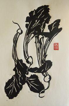 Japanese Turnips Hand-printed Block Print: Remodelista