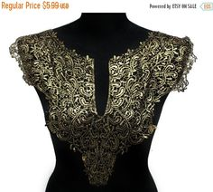 SALE NEW Black and Gold Lace Necklace Applique Collar by KBazaar