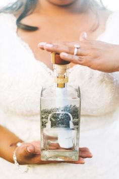 Love poems and message in the bottle on your beach wedding day