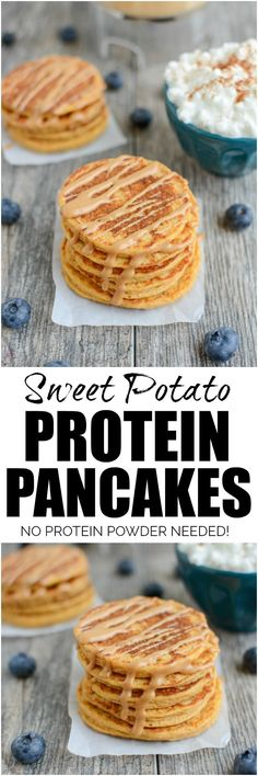 These Sweet Potato Protein Pancakes are made in a blender with protein-rich ingredients like cottage cheese and eggs. No protein powder required and they make a great breakfast or post workout snack. via @lclivingston