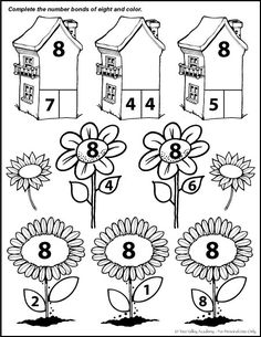 Fun free math printable.  Number bonds of 8 colouring page.