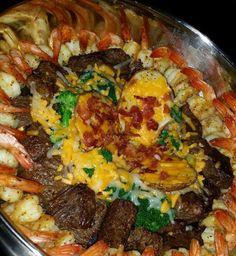 Shrimp, Steak, Broccoli, & Loaded Potato Platter