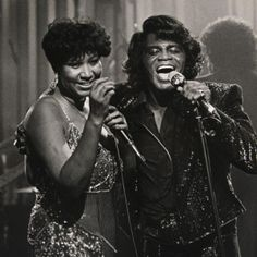 Aretha Franklin and James Brown for an HBO special in Detroit (1987). Photo by Rob Kozloff.