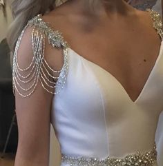 Bridal Shoulder Straps - Bride Shoulder Epaulettes - Bride Dress Straps - Beaded Sleeves - Bride Shoulder Jewelry - Bridal Straps - Bride Shoulder Straps – Bride Shoulder Epaulettes – Bride Dress Straps These crystal silver emb - Shoulder Jewelry, Shoulder Necklace, Back Necklace, Pendant Necklace, Bridal Jewelry Sets, Wedding Jewelry, Bridal Belts, Bridal Outfits, Bridal Dresses