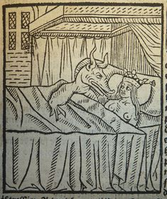 Woodcut illustration of the conception of Alexander from Alixandre le grant, printed in Paris by Michel Le Noir ca. 1507-1520.