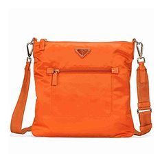 69f59a992b SALE PRICE -  845.75 - Prada Nylon and Leather Crossbody Bag- Orange Prada  Bag