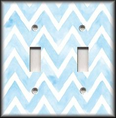 Nursery Decor Ideas - Switch Plate Cover - Watercolor Chevron Light Blue White  #LunaGallerySwitchPlates