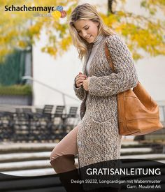Crochet Patterns Pullover Free Tutorial: Knitted cardigan in honeycomb pattern - When you are on cold days Crochet Pullover Pattern, Poncho Knitting Patterns, Coat Patterns, Crochet Patterns, Crochet Coat, Honeycomb Pattern, Crochet Fashion, Long Cardigan, Lana