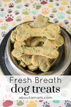 Does your dog have bad breath? This recipe for homemade fresh breath dog treats contains wholesome ingredients, and comes together easily. Dog bad breath treats are an absolute must, especially if you have a dog that likes to give kisses. Pumpkin Dog Treats, Diy Dog Treats, Healthy Dog Treats, Dog Biscuit Recipes, Dog Treat Recipes, Dog Food Recipes, Cbd Dog Treats Recipe, Bad Dog Breath, Puppy Breath