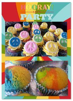 Peace themed rainbow cupcakes