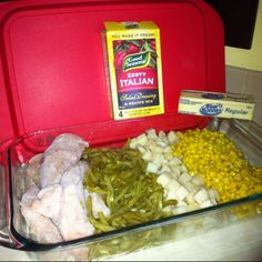 EASIEST MEAL EVER!  ZESTY ITALIAN DISH: - frozen chicken tenderloins - 1 can green beans - 1 can diced potatoes - 1 can corn - 2 packets of zesty Italian seasoning - 2 sticks of butter   Mix seasoning & melted butter together and pour over entire dish. Cover with tin foil & bake at 400 degrees for 35-45 min.   FINISHED!!! I often serve this with sister Schubert rolls & sometimes ketchup