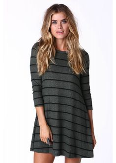 Linda Striped Sweater Dress in Olive