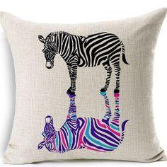 Creative Zebra Printed Decorative Cushion Covers Thick Linen Car Pillow Case cojines housse de coussin capa de almofada BZT-54