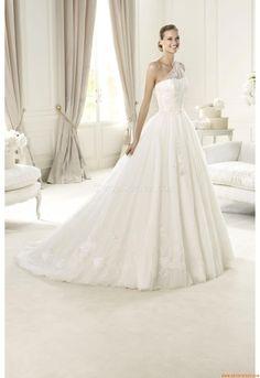 Elegant One Shoulder Court  Train Unique Wedding Dress China Pronovias Utrera 2013