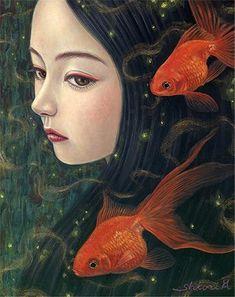 GOLDFISH | Shiori Matsumoto ノスタルジックな少女たちの世界を描く松本潮里の絵画作品集