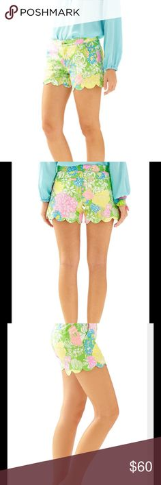 "Buttercup Scallop Hem Short Hibiscus Stroll NWT 5"" Buttercup Scallop Hem Short in Hibiscus Stroll NWT never worn Lilly Pulitzer Shorts"